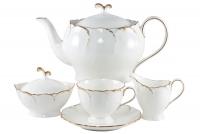 """Сервиз чайный 17  предмета (ов) на 6 персон """"Белый с золотом"""""""