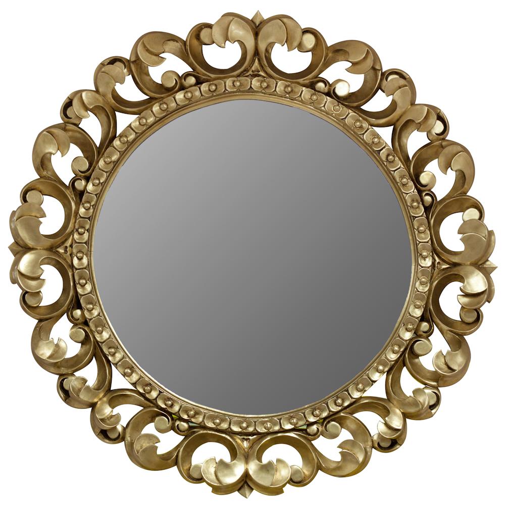 зеркало круглое 6060см в деревянной раме со скошенной